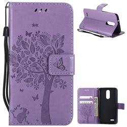 Embossing Butterfly Tree Leather Wallet Case for LG K8 (2018) / LG K9 - Violet