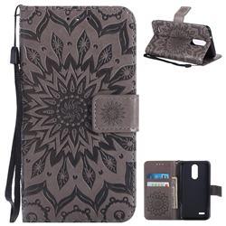 Embossing Sunflower Leather Wallet Case for LG K8 (2018) / LG K9 - Gray