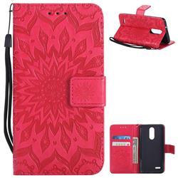 Embossing Sunflower Leather Wallet Case for LG K8 (2018) / LG K9 - Red