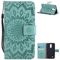 Embossing Sunflower Leather Wallet Case for LG K8 (2018) / LG K9 - Green