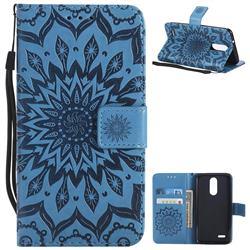 Embossing Sunflower Leather Wallet Case for LG K8 (2018) / LG K9 - Blue