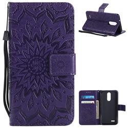 Embossing Sunflower Leather Wallet Case for LG K8 (2018) / LG K9 - Purple