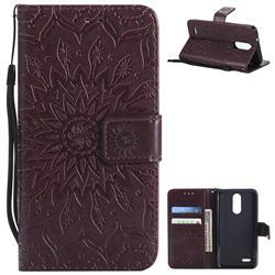 Embossing Sunflower Leather Wallet Case for LG K8 (2018) / LG K9 - Brown