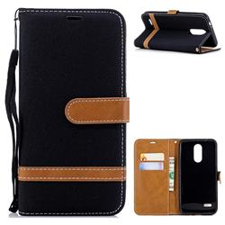 Jeans Cowboy Denim Leather Wallet Case for LG K8 (2018) - Black
