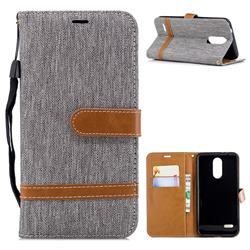 Jeans Cowboy Denim Leather Wallet Case for LG K8 (2018) / LG K9 - Gray