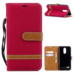 Jeans Cowboy Denim Leather Wallet Case for LG K8 (2018) - Red