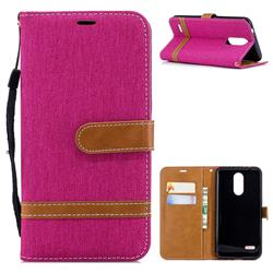 Jeans Cowboy Denim Leather Wallet Case for LG K8 (2018) - Rose