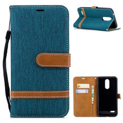 Jeans Cowboy Denim Leather Wallet Case for LG K8 (2018) - Green