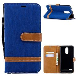 Jeans Cowboy Denim Leather Wallet Case for LG K8 (2018) - Sapphire