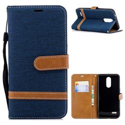 Jeans Cowboy Denim Leather Wallet Case for LG K8 (2018) / LG K9 - Dark Blue