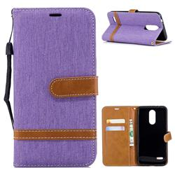 Jeans Cowboy Denim Leather Wallet Case for LG K8 (2018) - Purple