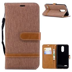 Jeans Cowboy Denim Leather Wallet Case for LG K8 (2018) - Brown