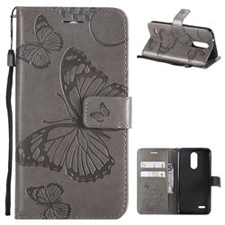 Embossing 3D Butterfly Leather Wallet Case for LG K8 (2018) / LG K9 - Gray