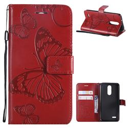 Embossing 3D Butterfly Leather Wallet Case for LG K8 (2018) / LG K9 - Red