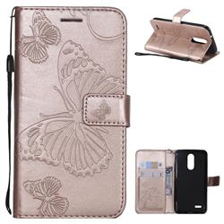 Embossing 3D Butterfly Leather Wallet Case for LG K8 (2018) / LG K9 - Rose Gold