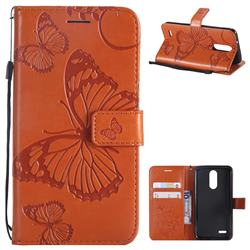 Embossing 3D Butterfly Leather Wallet Case for LG K8 (2018) / LG K9 - Orange