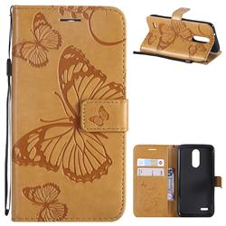 Embossing 3D Butterfly Leather Wallet Case for LG K8 (2018) / LG K9 - Yellow