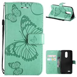 Embossing 3D Butterfly Leather Wallet Case for LG K8 (2018) / LG K9 - Green