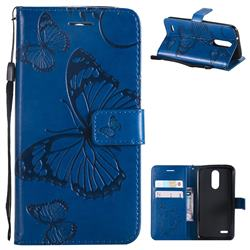 Embossing 3D Butterfly Leather Wallet Case for LG K8 (2018) / LG K9 - Blue