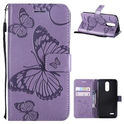 Embossing 3D Butterfly Leather Wallet Case for LG K8 (2018) / LG K9 - Purple