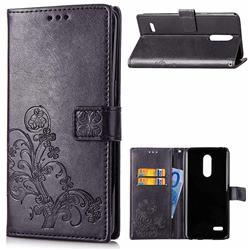 Embossing Imprint Four-Leaf Clover Leather Wallet Case for LG K8 (2018) / LG K9 - Black