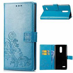 Embossing Imprint Four-Leaf Clover Leather Wallet Case for LG K8 (2018) / LG K9 - Blue