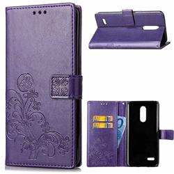 Embossing Imprint Four-Leaf Clover Leather Wallet Case for LG K8 (2018) / LG K9 - Purple