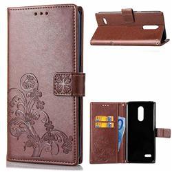 Embossing Imprint Four-Leaf Clover Leather Wallet Case for LG K8 (2018) / LG K9 - Brown