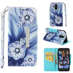 Button Flower Big Metal Buckle PU Leather Wallet Phone Case for LG K8 (2018)