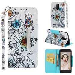 Fotus Flower Big Metal Buckle PU Leather Wallet Phone Case for LG K8 (2018)