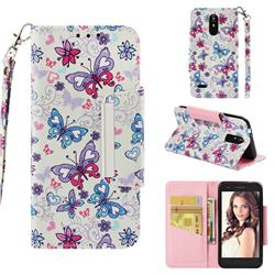 Colored Butterfly Big Metal Buckle PU Leather Wallet Phone Case for LG K8 (2018)