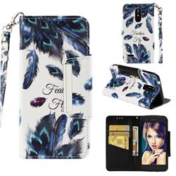 Peacock Feather Big Metal Buckle PU Leather Wallet Phone Case for LG K8 (2018)
