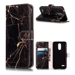 Black Gold Marble PU Leather Wallet Case for LG K8 (2018)