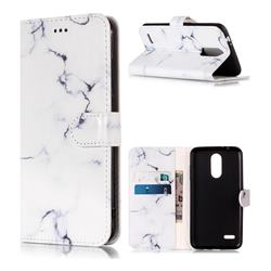 Soft White Marble PU Leather Wallet Case for LG K8 (2018)