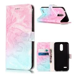 Pink Green Marble PU Leather Wallet Case for LG K8 (2018)