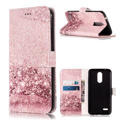 Glittering Rose Gold PU Leather Wallet Case for LG K8 (2018)