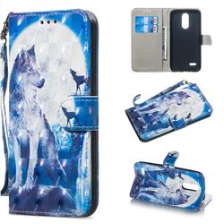 Ice Wolf 3D Painted Leather Wallet Phone Case for LG K8 (2018)