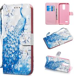 Blue Peacock 3D Painted Leather Wallet Phone Case for LG K8 (2018)