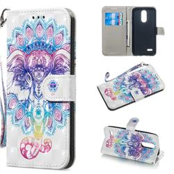 Colorful Elephant 3D Painted Leather Wallet Phone Case for LG K8 (2018)