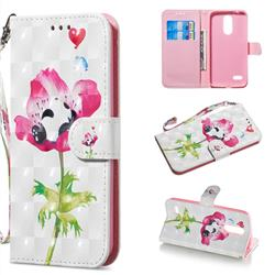 Flower Panda 3D Painted Leather Wallet Phone Case for LG K8 (2018)