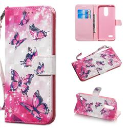 Pink Butterfly 3D Painted Leather Wallet Phone Case for LG K8 (2018)