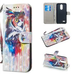 Watercolor Owl 3D Painted Leather Wallet Phone Case for LG K8 (2018)