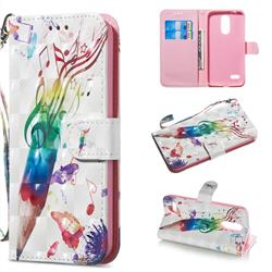 Music Pen 3D Painted Leather Wallet Phone Case for LG K8 (2018)