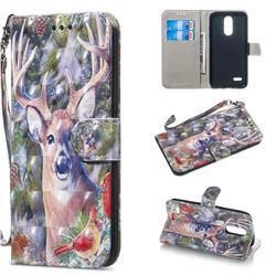 Elk Deer 3D Painted Leather Wallet Phone Case for LG K8 (2018)