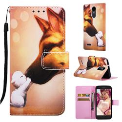 Hound Kiss Matte Leather Wallet Phone Case for LG K8 (2018)