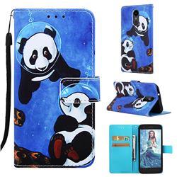 Undersea Panda Matte Leather Wallet Phone Case for LG K8 (2018)
