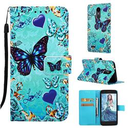 Love Butterfly Matte Leather Wallet Phone Case for LG K8 (2018)