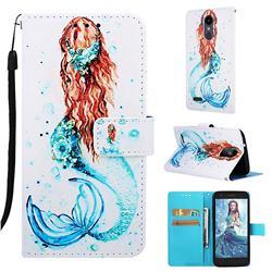 Mermaid Matte Leather Wallet Phone Case for LG K8 (2018)