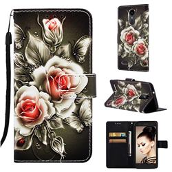 Black Rose Matte Leather Wallet Phone Case for LG K8 (2018)