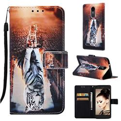 Cat and Tiger Matte Leather Wallet Phone Case for LG K8 (2018)